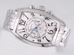 Perfect Franck Muller Casablanca Working Chronograph with White Dial S/S AAA Watches [A3O4]