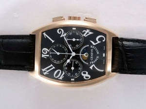 Perfect Franck Muller Curvex Chronograph Lemania Movement Rose Gold Case AAA Watches [T7V5]