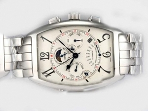Perfect Franck Muller Curvex Perpetual Calendar Automatic with White Dial AAA Watches [J3X2]