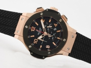 Fancy Hublot Big Bang Working Chrono Rose Gold Case with Black Bezel AAA Watches [E1S1]