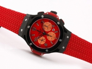 Popular Hublot Big Bang Chronograph Asia Valjoux 7750 PVD Case with Red Dial AAA Watches [T4P4]