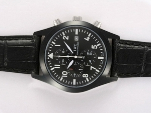 Cool IWC Saint Exupery Working Chronograph PVD Casing with Black Dial AAA Watches [A5Q9]