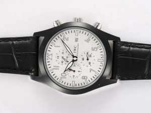 Cool IWC Saint Exupery Working Chronograph PVD Casing with White Dial AAA Watches [O6Q6]