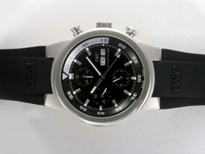 Fancy IWC Aquatimer Chrono-Automatic with Black Dial and Rubber Strap AAA Watches [X2W7]