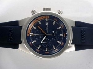 Fancy IWC Aquatimer Working Chronograph with Blue Dial and Blue Rubber Strap AAA Watches [C5B7]