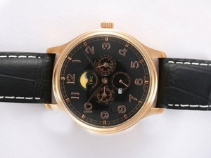 Gorgeous IWC Da Vinci Perpetual Calendar Automatic Gold Case with Black Dial AAA Watches [N9W6]