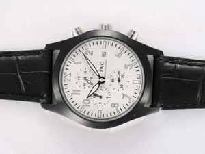Great IWC Saint Exupery Working Chronograph PVD Casing with White Dial AAA Watches [G5O8]