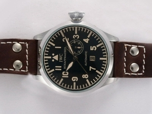Modern IWC Big Pilot Automatic with Black Dial -Brown Strap AAA Watches [W7U5]