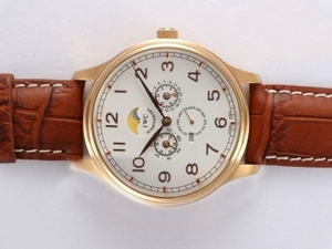 Modern IWC Da Vinci Perpetual Calendar Automatic Gold Case with White Dial AAA Watches [V7Q1]