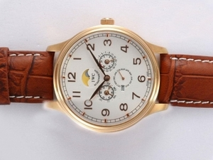 Perfect IWC Da Vinci Perpetual Calendar Automatic Gold Case with White Dial AAA Watches [G5C3]