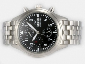 Vintage IWC Pilot Chrono 3717 Automatic With Black Dial-Same Chassis As ETA 7750 Automatic Movement AAA Watches [E8W9]