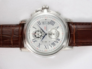 Great Montblanc Star Chrono GMT Working Chronograph with White Dial AAA Watches [D6G1]