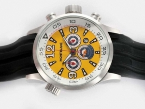 Modern Montblanc Star Working Chronograph with Yellow Dial-Rubber Strap AAA Watches [M7N9]