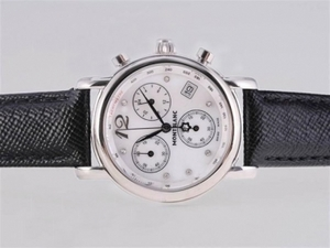 Perfect Montblanc Star Working Chronograph with White Dial and Black Strap AAA Watches [Q7H9]
