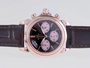 Cool Omega De Ville Working Chronograph Rose Gold Case with Black Dial AAA Watches [S2N6]