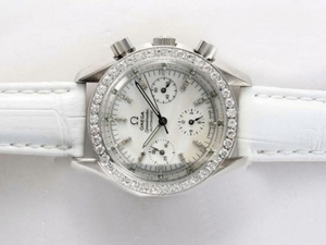 Cool Omega Speedmaster Automatic Diamond Bezel and Marking with White Dial AAA Watches [J6A4]