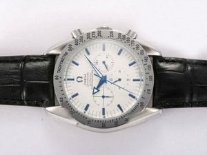 Cool Omega Speedmaster Chronograph Automatic Blue Marking with White Dial AAA Watches [L5M5]
