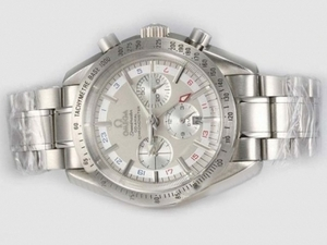Fancy Omega Speedmaster GMT Chronograph Automatic with White Dial AAA Watches [F7S2]