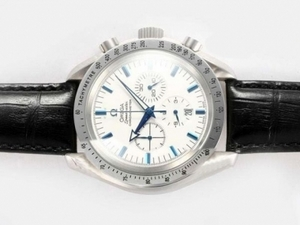 Fancy Omega Speedmaster Working Chronograph with White Dial AAA Watches [Q5D3]