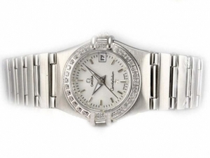 Gorgeous Omega Constellation Diamond Bezel with White Dial-Lady Size AAA Watches [B4C9]