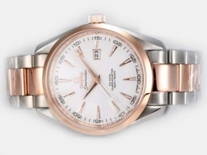 Gorgeous Omega Seamaster Aqua Terra Big Size Automatic Two Tone with White Dial AAA Watches [E1A6]