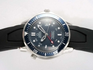Gorgeous Omega Seamaster Automatic with Blue Dial -Rubber Strap AAA Watches [T9I4]