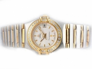 Perfect Omega Constellation Two Tone Diamond Bezel with White Dial-Lady Size AAA Watches [W7J5]