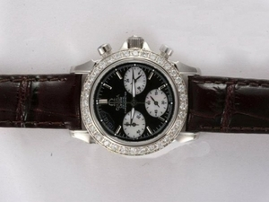 Perfect Omega De Ville Working Chronograph Diamond Bezel with Black Dial AAA Watches [X1V5]