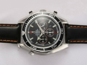 Perfect Omega Seamaster Planet Ocean Working Chronograph with Black Bezel AAA Watches [R8V9]