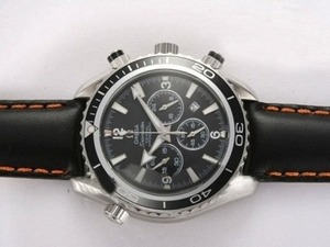 Quintessential Omega Seamaster Planet Ocean Working Chronograph with Black Bezel AAA Watches [V3P7]