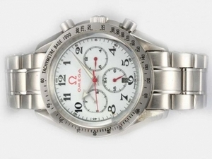 Vintage Omega Speedmaster Chronograph Automatic with White Dial-Olympic Edition AAA Watches [U9L9]
