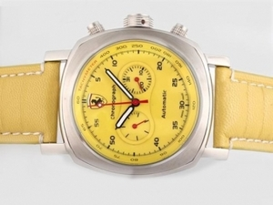 Cool Panerai Ferrari Rattapante Chronograph Automatic with Yellow Dial AAA Watches [B8A4]