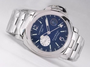 Perfect panerai luminor gmt automatic with blue dial stainless steel strap AAA Watches [J4I1]
