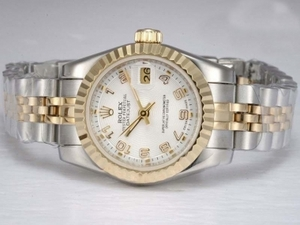 Cool Rolex DateJust Automatic Two Tone with White Dial AAA Watches [N4S5]