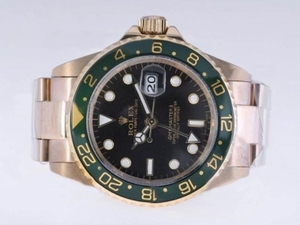Cool Rolex GMT-Master II Automatic Full Gold with Black Dial-Green Bezel AAA Watches [A1S1]