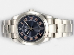 Fancy Rolex Air-King Oyster Perpetual Automatic with Blue Dial 2007 Model AAA Watches [A7L1]