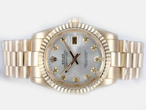 Fancy Rolex DateJust Automatic Full Gold with Silver Dial-Diamond Marking AAA Watches [B6F8]