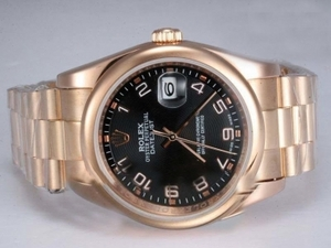 Fancy Rolex DateJust Automatic Full Rose Gold with Black Dial AAA Watches [I9V7]