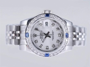 Fancy Rolex Datejust Automatic Blue Diamond Bezel med Silver Dial AAA klockor [B9G1]