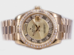 Fancy Rolex Day-Date Automatic Full Gold Diamond Bezel with Golden Dial AAA Watches [I5I4]