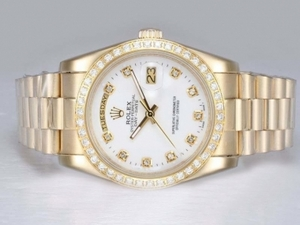 Fancy Rolex Day-Date Automatic Full Gold with Diamond Bezel and Marking AAA Watches [L2R4]
