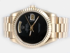Fancy Rolex Day-Date Automatic Full Gold with Black Dial AAA Watches [U8O1]