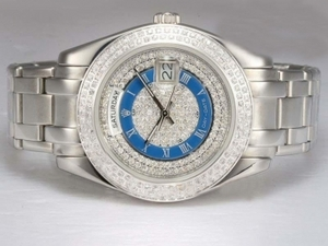 Fancy Rolex Masterpiece Automatic Diamond Bezel and Dial with Blue-40m AAA Watches [G4V1]