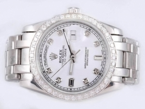 Fancy Rolex Masterpiece Automatic Diamond Marking and Bezel with White Dial AAA Watches [I4S5]