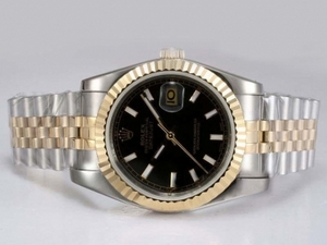 Gorgeous Rolex DateJust Automatic Two Tone with Black Dial AAA Watches [O2D5]