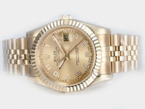 Gorgeous Rolex Datejust Automático Fulll oro con oro Dial-Número Marcado Relojes AAA [Q2R1]