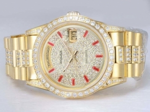Upea Rolex Day-Date Automatic Full Gold Diamond Kehys ja Dial AA