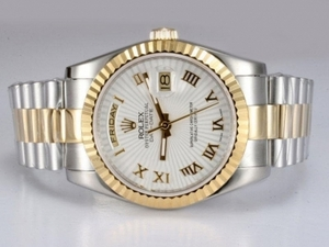 Gorgeous Rolex Day-Date Automatic Movement Two Tone with White Dial AAA Watches [J9P4]