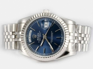 Gorgeous Rolex Day-Date Automatic med Blue Dial-Stick Märkning AAA klockor [D7M9]