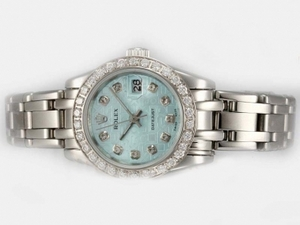 Gorgeous Rolex Masterpiece Automatic Diamond Bezel and Marking with Blue Dial AAA Watches [L5S9]